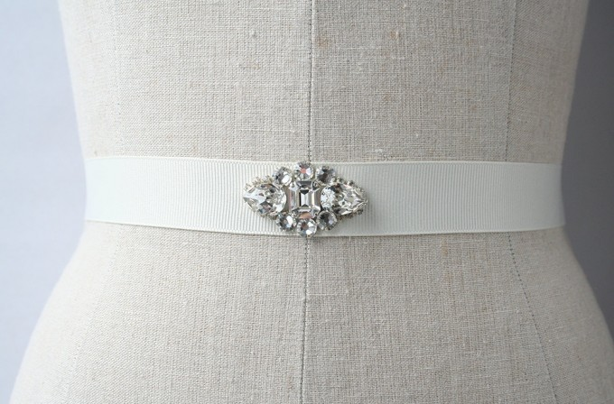 crystal bridal dress sash | by Laura Stark | sashes dress | http://emmalinebride.com/bride/bridal-sashes-dress