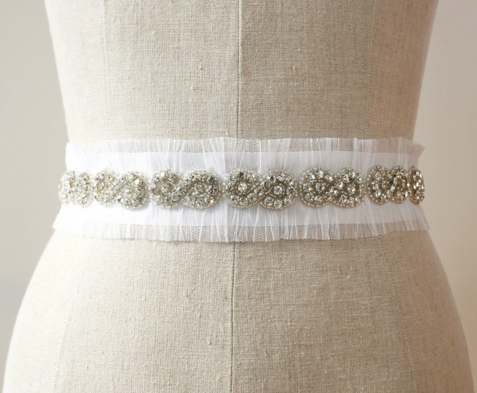 Tulle and Crystal Dress Sash | by Laura Stark | sashes dress | http://emmalinebride.com/bride/bridal-sashes-dress