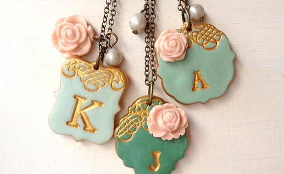 emeald green mint and peach initial necklaces for bridesmaids