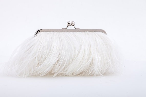 feather-clutch-purses-weddings-bright-white-feathers