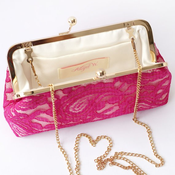 fuchsia lace clutch | by ANGEE W.