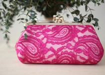 fuchsia lace clutch purse
