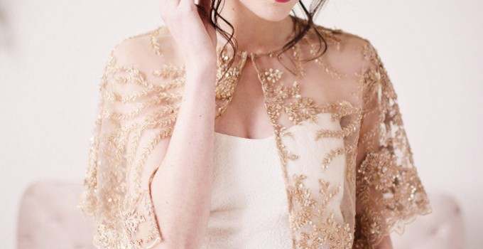 gold bead lace capelet top