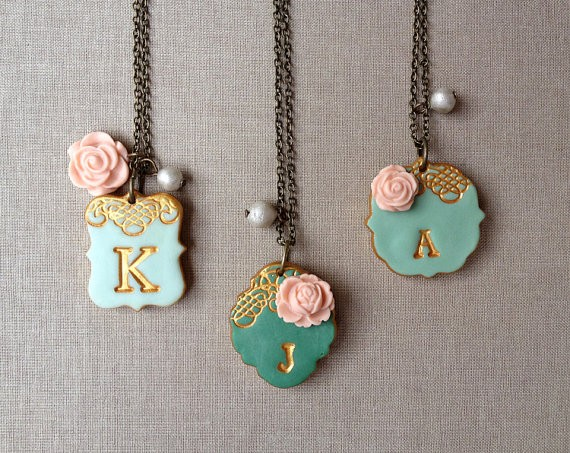 initial necklaces | by Palomaria | bridesmaid necklaces initials | http://emmalinebride.com/gifts/bridesmaid-necklaces-initials
