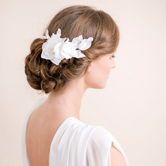 lily magnolia flower hair comb | hairstyles accessories weddings | http://emmalinebride.com/bride/hairstyles-accessories-weddings/ | via florentes: http://etsy.me/22yo1LX