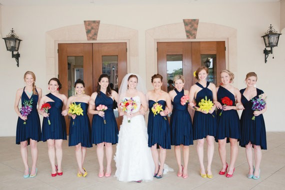 navy blue bridesmaid convertible dresses