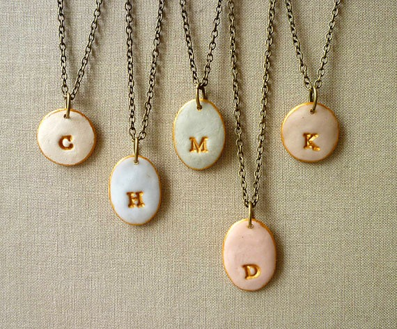 pastel initial necklaces for bridesmaids | by Palomaria | bridesmaid necklaces initials | http://emmalinebride.com/gifts/bridesmaid-necklaces-initials