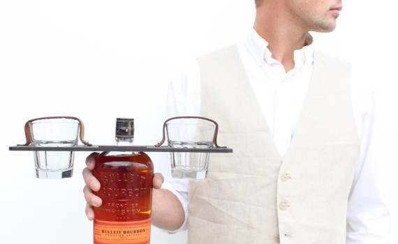 personalized groomsmen whiskey gift with glasses by hostandtoaststudio