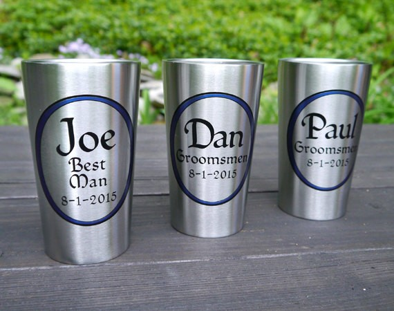personalized tumblers for groomsmen   by Capcatchers   http://emmalinebride.com/gifts/tumblers-groomsmen-stainless-steel/