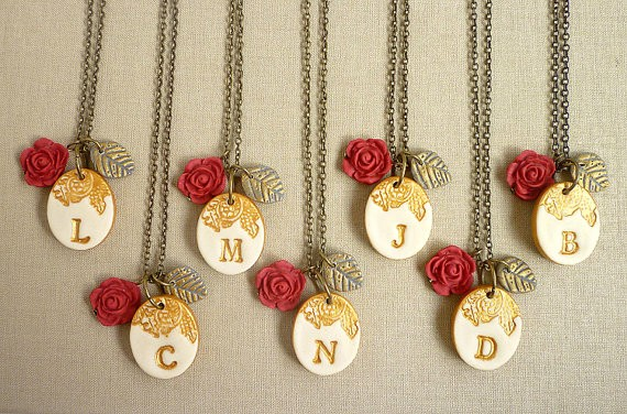 red rose initial necklaces for bridesmaids | by Palomaria | bridesmaid necklaces initials | http://emmalinebride.com/gifts/bridesmaid-necklaces-initials