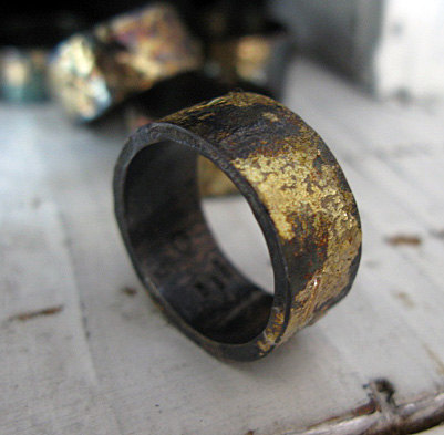 scorched rustic wedding band | unique wedding bands for men