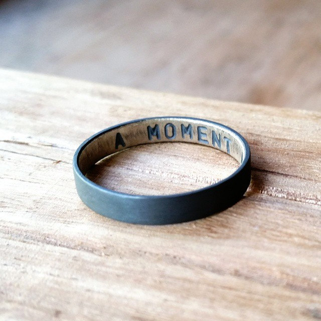 secret message oxidized wedding band