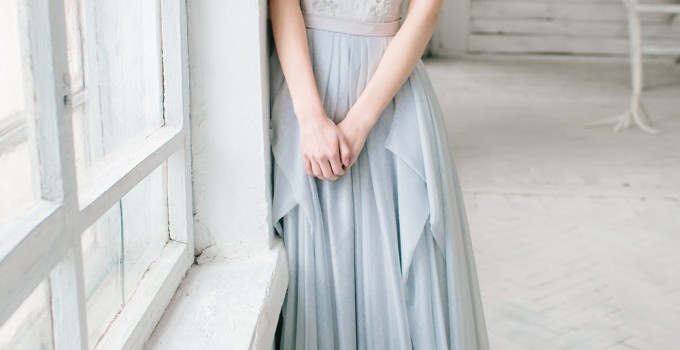silver grey wedding dress