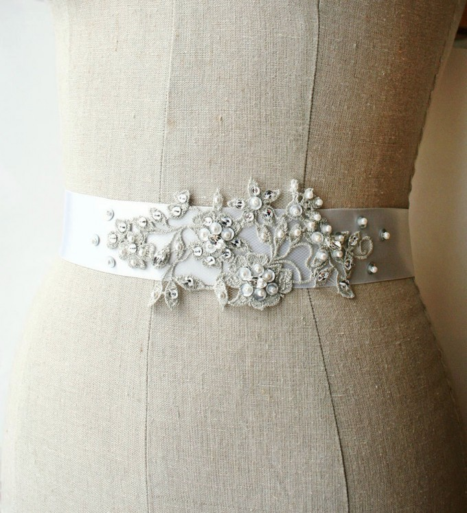 Silvery gray dress sash with beading | by Laura Stark | sashes dress | http://emmalinebride.com/bride/bridal-sashes-dress