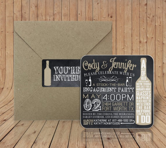 stock the bar engagement party invitations coasters