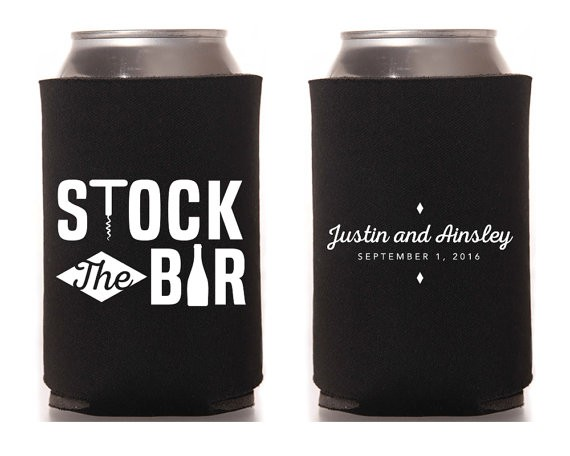 stock the bar koozies in black