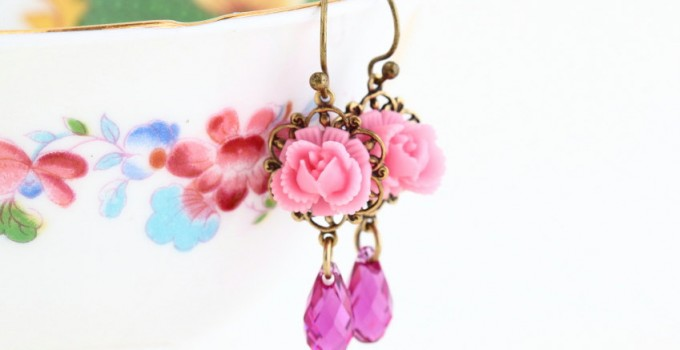 sweet pink flower earrings