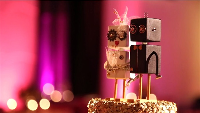 wedding_robot_cake_topper_- San Francisco Wedding Film - Baby Blue Film