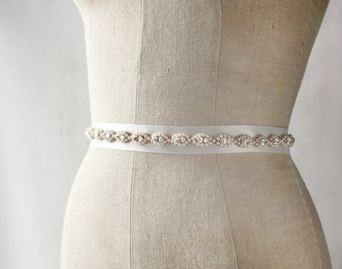Grecian style wedding dress sash | by Laura Stark | sashes dress | http://emmalinebride.com/bride/bridal-sashes-dress