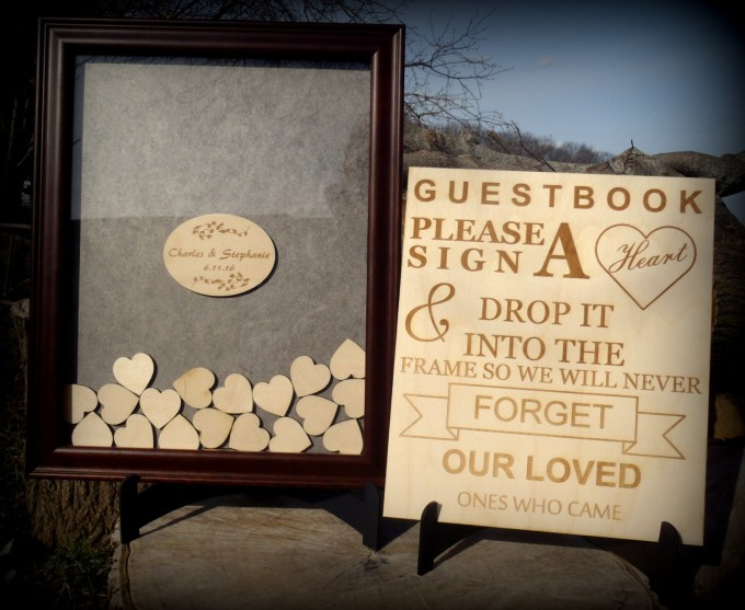 Unique Wedding Guest Book Idea | wooden heart box guest book by BPLaserEngraving