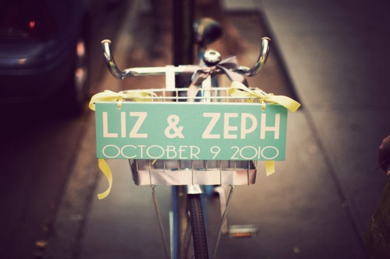 bicycle sign for wedding