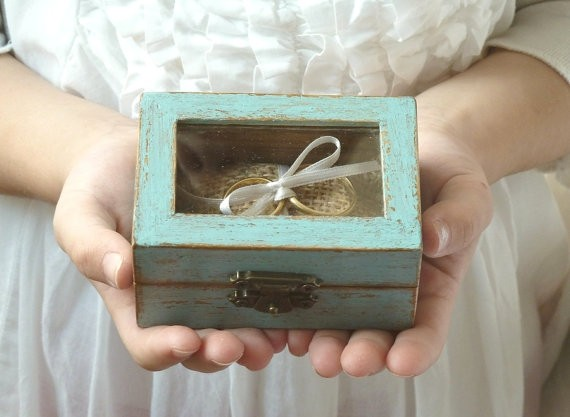 blue ring bearer box with see through lid by sayaartdesign | 41 Beautiful Rustic Ring Pillows Etsy | https://emmalinebride.com/rustic/ring-pillows-etsy-weddings/