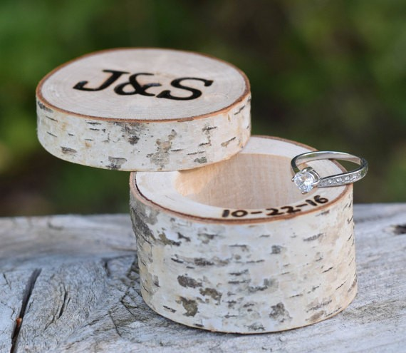 carved birch wedding ring box by birchworks | 41 Beautiful Rustic Ring Pillows Etsy | https://emmalinebride.com/rustic/ring-pillows-etsy-weddings/