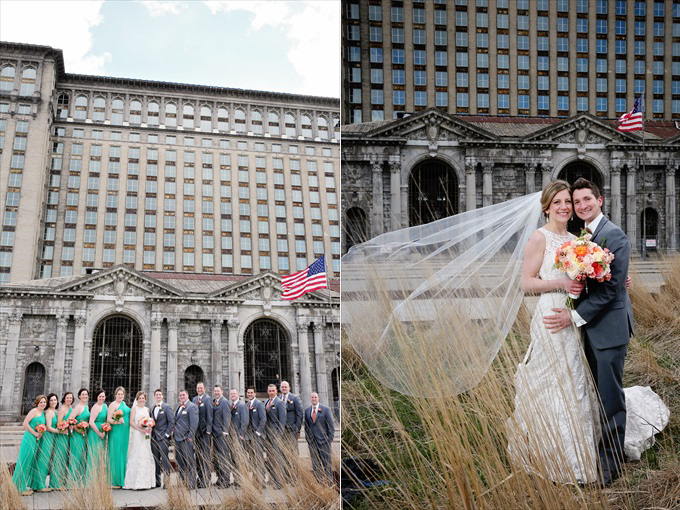 detroit_train_station_wedding_photography_bride_groom_the_wedding_chick Downtown Detroit Wedding - http://emmalinebride.com/real-weddings/a-beautiful-downtown-detroit-wedding-nick-jeannine/ | Michigan wedding photographer - The Camera Chick