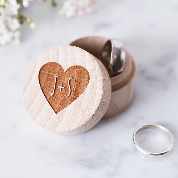 engraved round wood box by cloudsandcurrents | 41 Beautiful Rustic Ring Pillows Etsy | https://emmalinebride.com/rustic/ring-pillows-etsy-weddings/