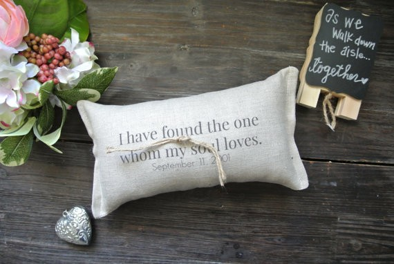 found the one whom my soul loves ring pillow by decoratedroom | 41 Beautiful Rustic Ring Pillows Etsy | http://emmalinebride.com/rustic/ring-pillows-etsy-weddings/