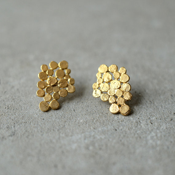 gold cluster earrings by StudioBALADI
