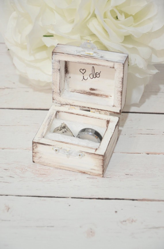 i do white ring box by bellabridecreations | 41 Beautiful Rustic Ring Pillows on Etsy | http://emmalinebride.com/rustic/ring-pillows-etsy-weddings/