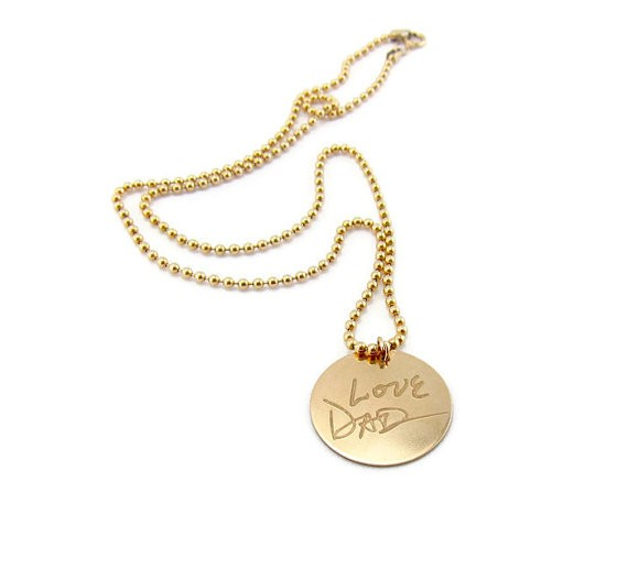 love dad necklace - handwritten jewelry gifts   http://emmalinebride.com/gifts/handwritten-jewelry/