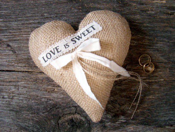 love is sweet burlap heart ring pillow | 41 Beautiful Rustic Ring Pillows Etsy | https://emmalinebride.com/rustic/ring-pillows-etsy-weddings/