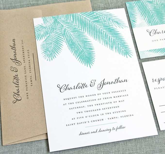 beach wedding invitations by cricket printing | http://emmalinebride.com/beach/beach-wedding-invitations/