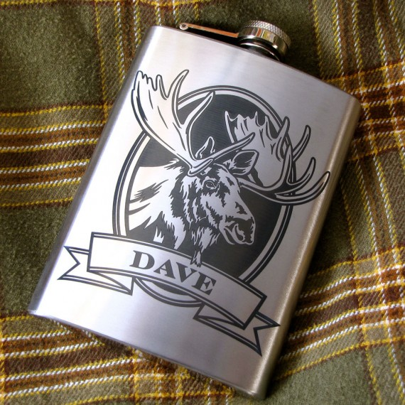 personalized moose flask | personalized wedding flask by Brad Goodell Weddings | http://emmalinebride.com/2016-giveaway/personalized-wedding-flask/