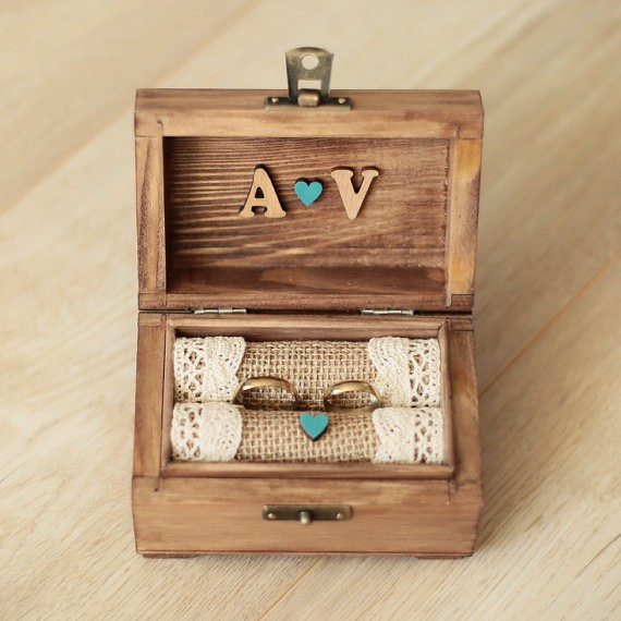 personalized ring box with something blue | 41 Beautiful Rustic Ring Pillows Etsy | https://emmalinebride.com/rustic/ring-pillows-etsy-weddings/