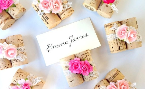 pink place card holders cork