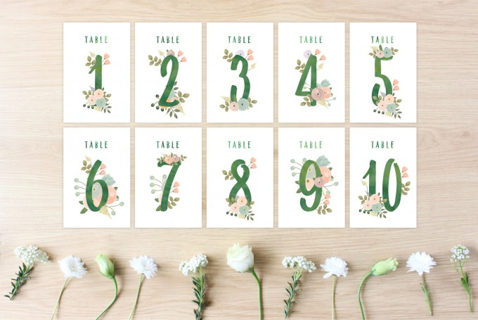 printable wedding table numbers | http://emmalinebride.com/wedding/printable-table-numbers-floral/