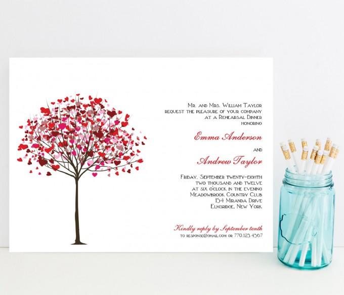 red heart tree rehearsal dinner invitations
