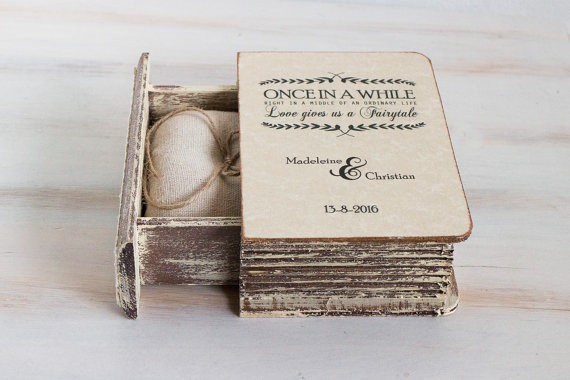ring bearer box book style | 41 Beautiful Rustic Ring Pillows on Etsy | https://emmalinebride.com/rustic/ring-pillows-etsy-weddings/