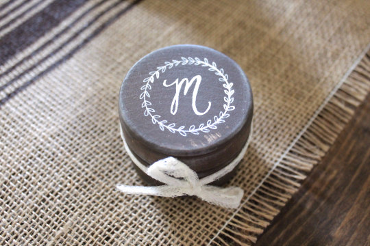 ring bearer box round with initial on top | 41 Beautiful Rustic Ring Pillows Etsy | https://emmalinebride.com/rustic/ring-pillows-etsy-weddings/