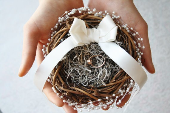 ring bearer pillow nest by WildRoseAndSparrow | 41 Beautiful Rustic Ring Pillows Etsy | https://emmalinebride.com/rustic/ring-pillows-etsy-weddings/