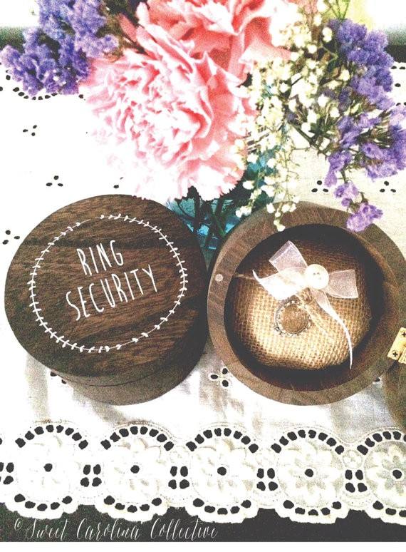 ring security box by sweetnccollective | 41 Beautiful Rustic Ring Pillows on Etsy | https://emmalinebride.com/rustic/ring-pillows-etsy-weddings/