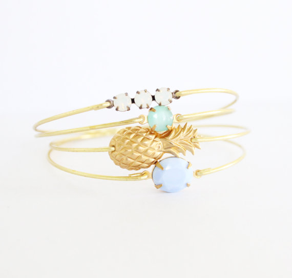 stackable pineapple and charm bangles by sweetauburnstudio