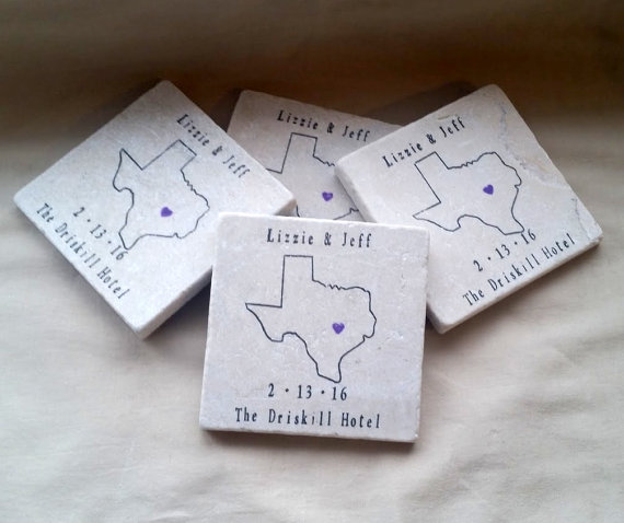 texas state outline coaster favors