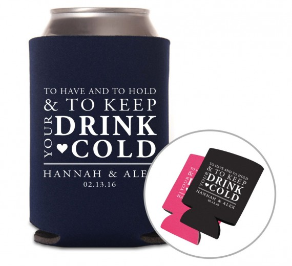 Wedding Drink Koozies | by Grand Design Studio | http://emmalinebride.com/wedding/drink-koozies/