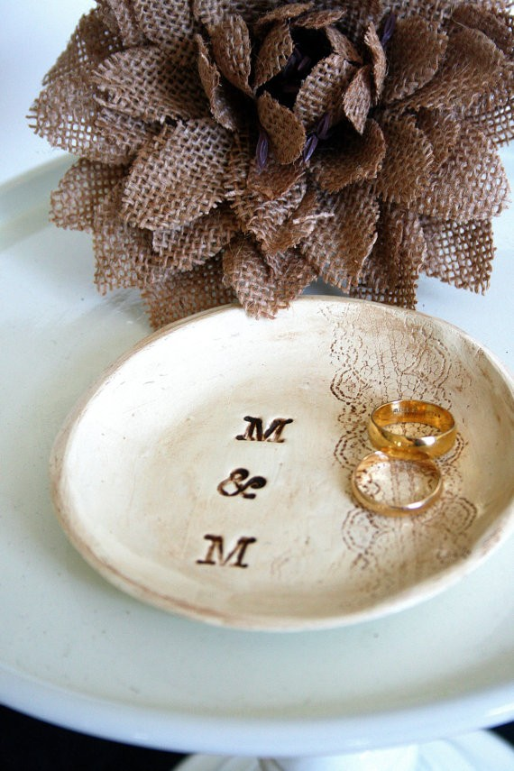 wedding ring dish with stamped initials by hawthornehill | 41 Beautiful Rustic Ring Pillows Etsy | https://emmalinebride.com/rustic/ring-pillows-etsy-weddings/