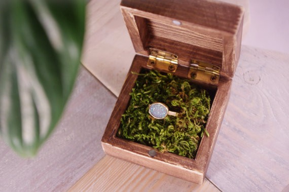 wooden ring box with moss | 41 Beautiful Rustic Ring Pillows Etsy | https://emmalinebride.com/rustic/ring-pillows-etsy-weddings/