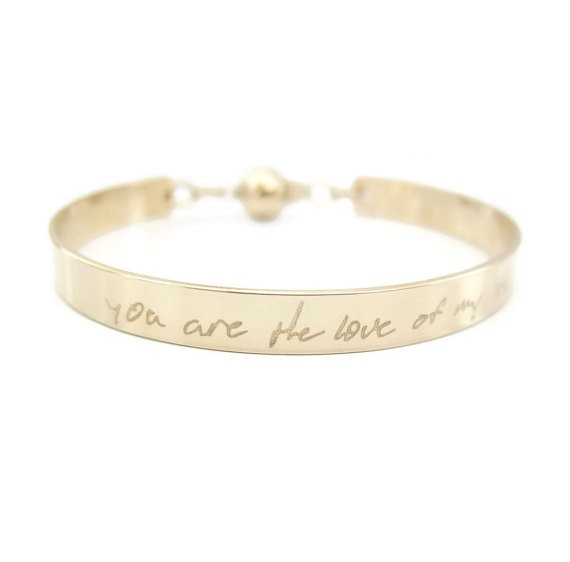 you are the love of my life bracelet - handwritten jewelry gifts   http://emmalinebride.com/gifts/handwritten-jewelry/